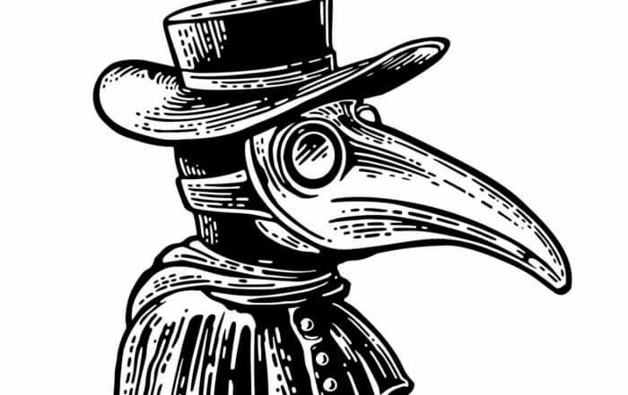 plague doctor with beak shaped mask